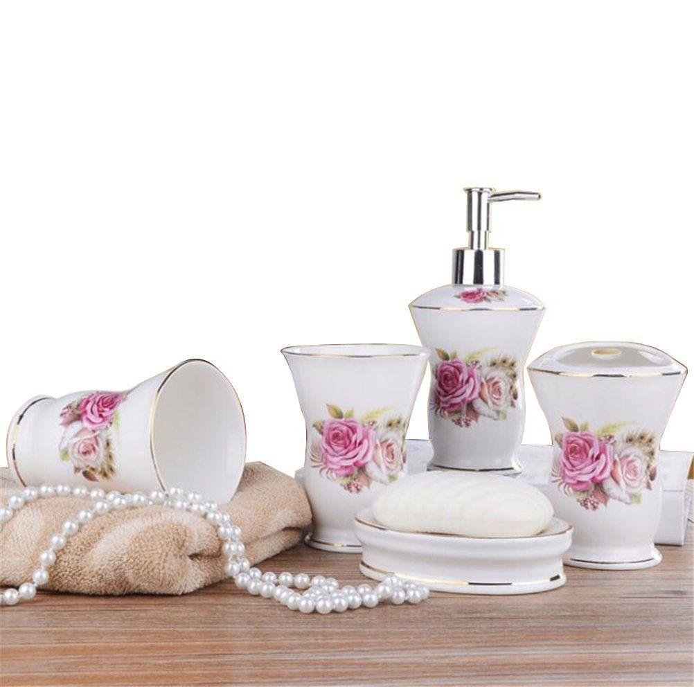 Amazon Com Ceramic Bathroom 5 Pieces Set Supplies Pink Elegant Rose
