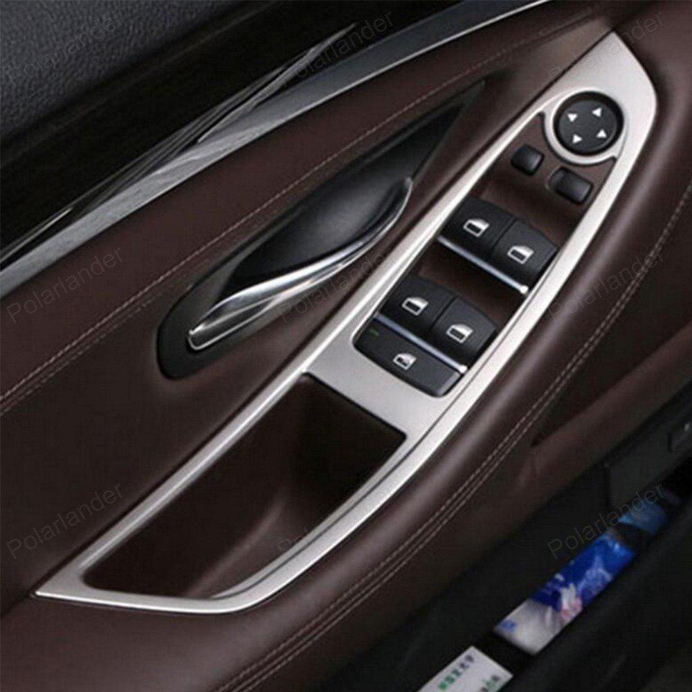 4pcs Abs Chrome Interior Car Door Window Lift Adjust Switch Panel