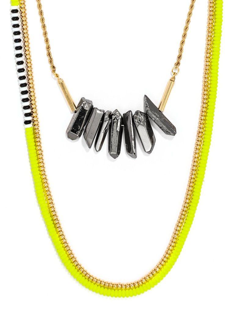 Rough hematite stones mixed with neon beads adds a boho beachy touch to bright strands. Every stone is unique, so appearance will vary. #baublebar #swatstyle #necklace