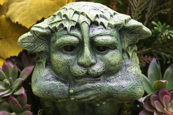 Greenman Statue   Green Man Celtic Deity   Jack Ou0027 The Green   Concrete  Garden