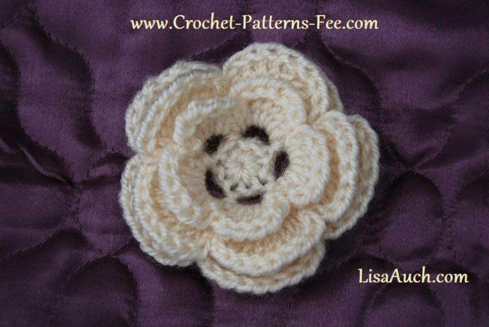 Easy Free Crochet Flower Pattern Pretty 3 Layer Crochet Flower