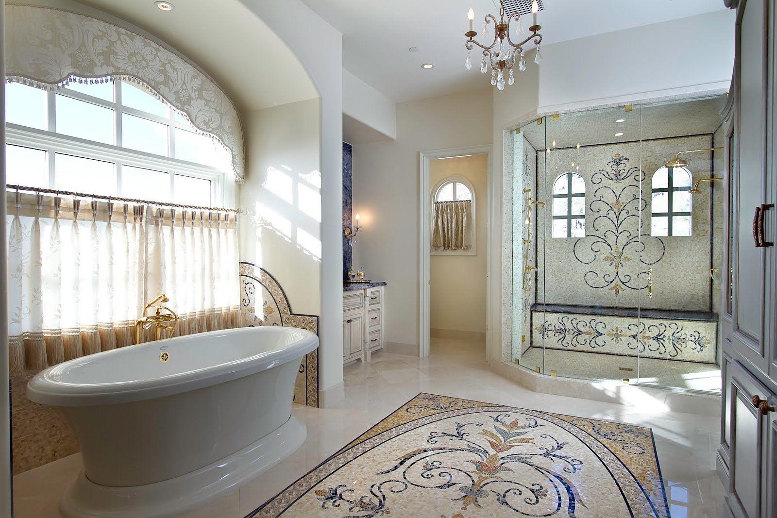 Luxury Bathroom Design With Handcrafted Marble Mosaic Tiles #glass #mosaic  #luxuriousmodernbathroom