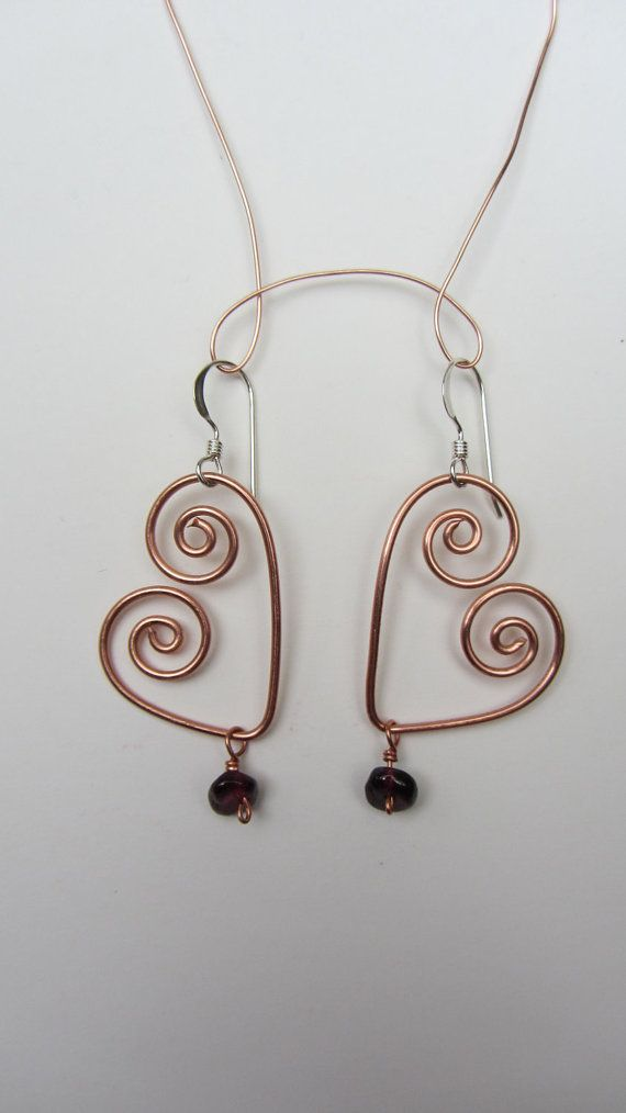 Heart Jewelry Copper Wire with Red Garnet Bead by missrebeccalee ...