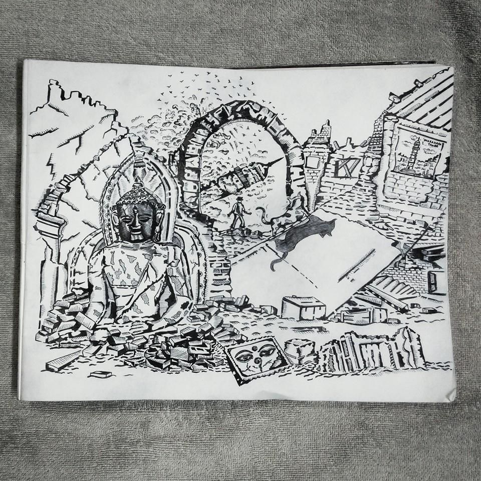 Doodle On Nepal Earthquake 2015 Doodles Doodle Art Sketches