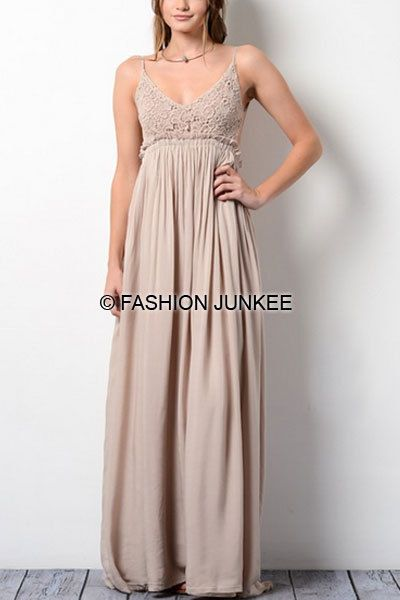 fc1b8e330e3 TAUPE CROCHET MAXI Dress Backless Open Back Full Length Bridesmaid Long S M  L