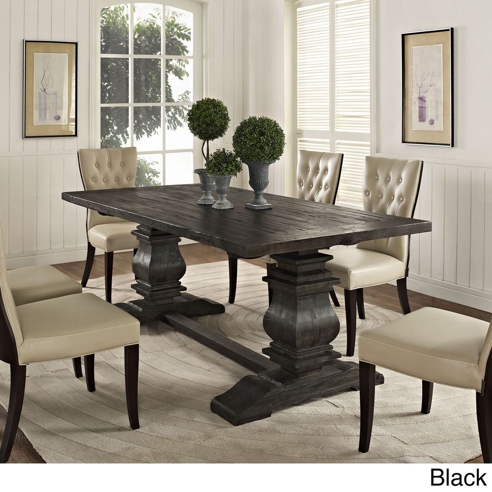 Modway Column Rustic Rectangular Wood Dining Table
