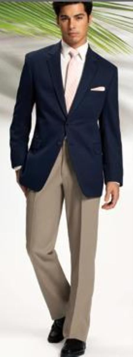 Men's Solid Navy Blue 2 Button Blazer We Have Collection of Men's ...