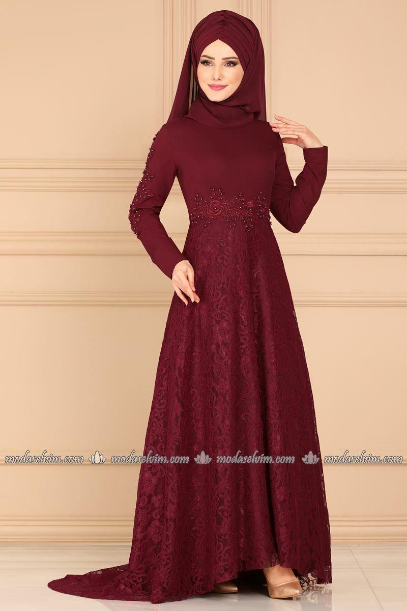 Dantelli Kuyruklu Tesettur Abiye 5052ay342 Bordo Moda Selvim Elbiseler The Dress Moda Stilleri