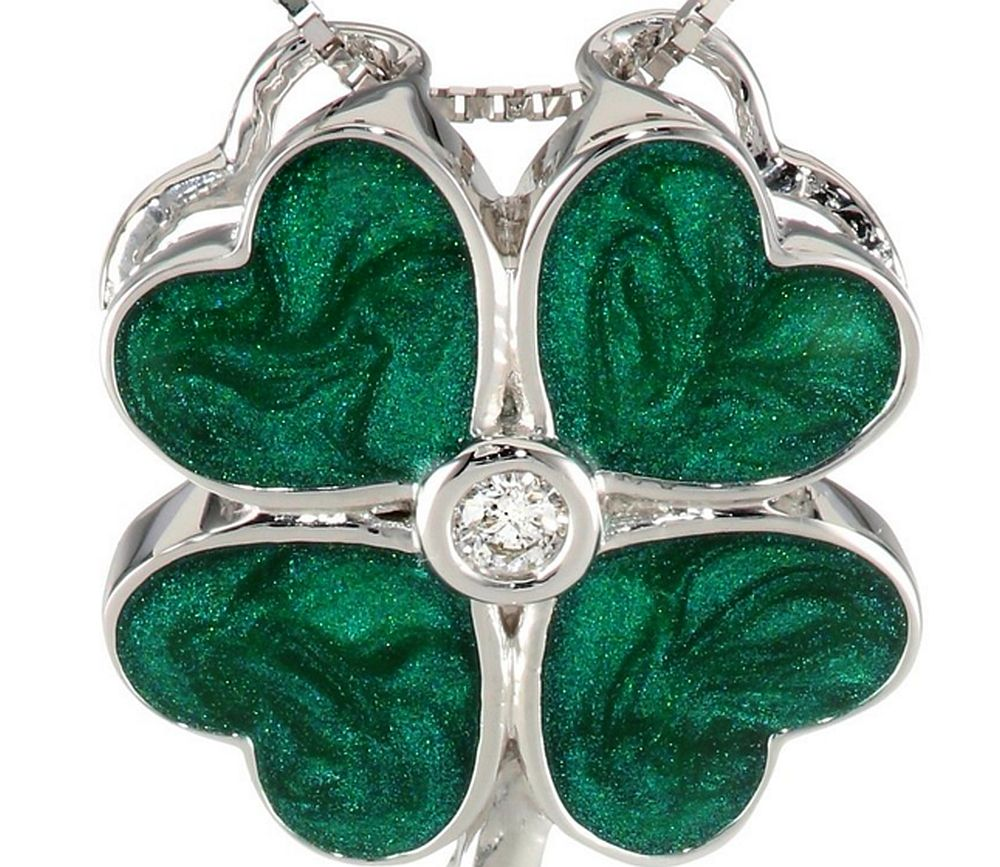 Green lucky shamrock necklace four leaf clover charm emerald green - Green 10k White Gold Four Leaf Clover With Diamond Pendant Necklace