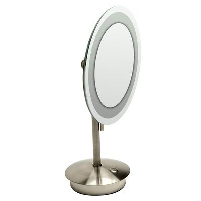 Alfi Brand Tabletop Round Frameless Lighted Magnifying Makeup