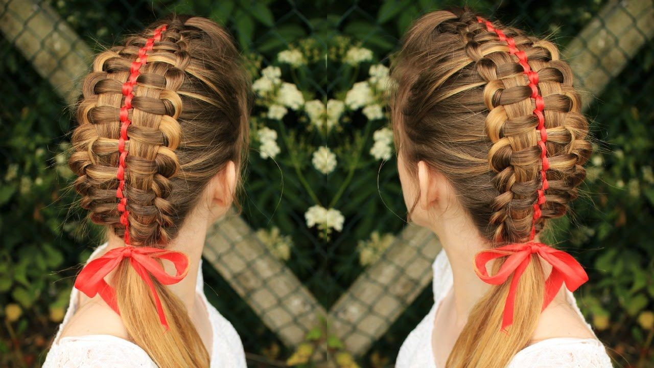 Zipper Braid With Ribbon Ribbon Braid Hair Tutorial Ribbon Hairstyle Braided Hairstyles Hair Tutorial