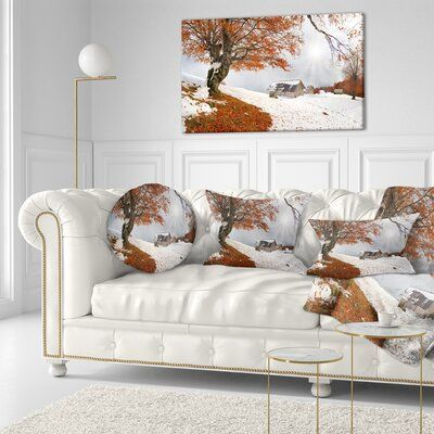 East Urban Home Landscape Photography Sudden Snow in First Autumn Lumbar Pillow