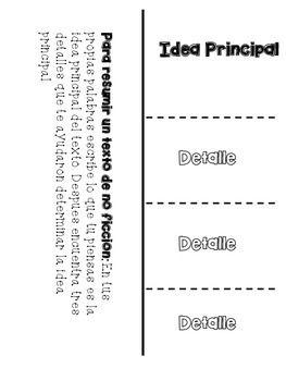 Idea Principal y Detalles Foldable FREEBIE [Main Idea and