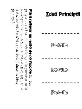Idea Principal Y Detalles Foldable Freebie Main Idea And Teaching Vocabulary Informational Writing Reading Vocabulary