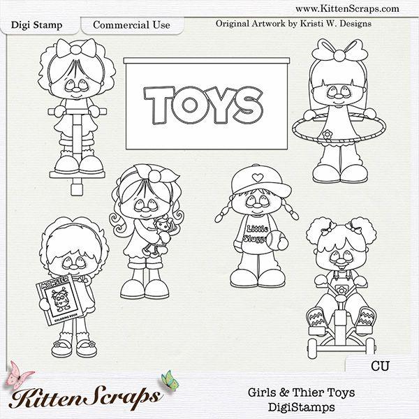 Girls & Their Toys DigiStamps / Doodles, by KittenScraps, Original Artwork by Kristi W Designs