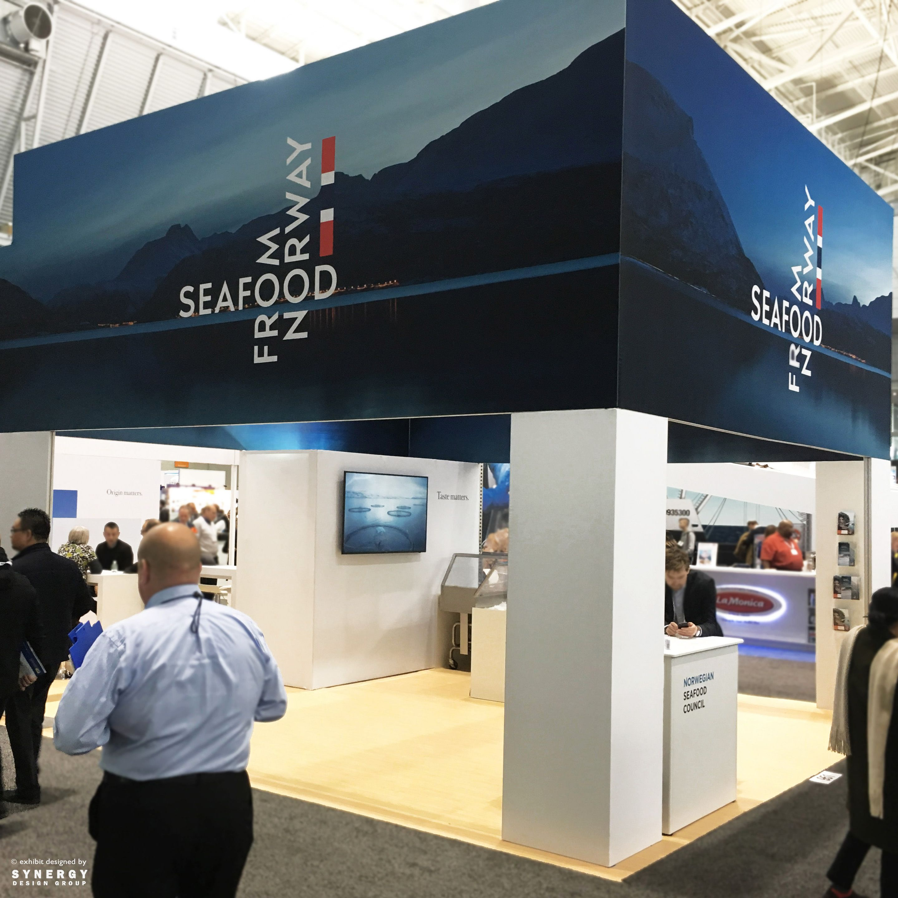 Exhibition Booth Header : Custom island trade show booth for client norwegian seafood the