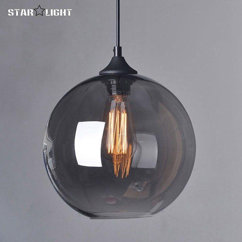 Mode Suspended Pendant Glass Ball Hanging Lamps Ceiling Glass Chandelier Lamp Shades Translucent Luminaire Suspendu Decoration Style Industriel Retro Luminaire
