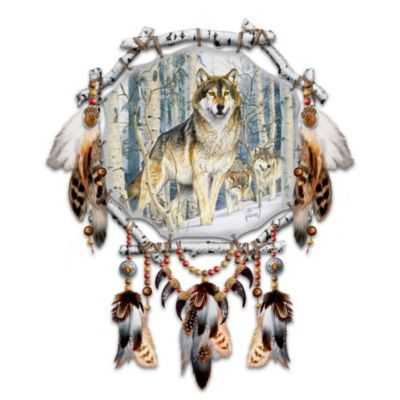 Limited-edition. Dreamcatcher features Al Agnew wolf art on real leather stretched across a birch bark-look sculptural frame. Feathers, beads, more.