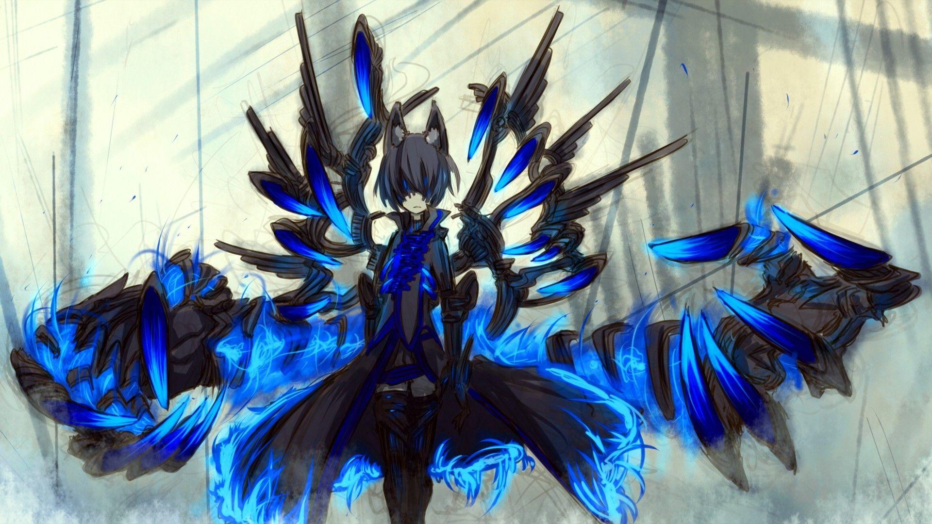 Pixiv Fantasia, Nekomimi, Blue, Original Characters, Blue