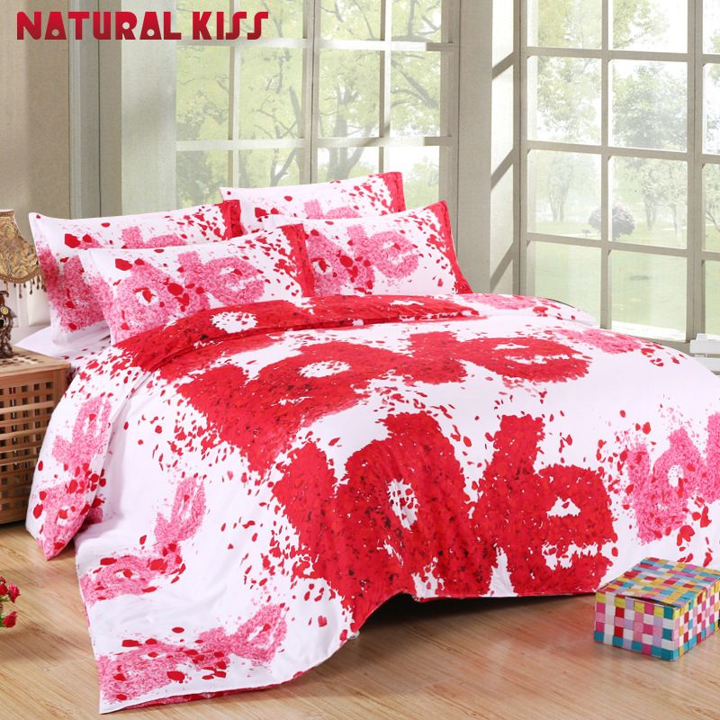 Hot Sale Romantic 3D Plant Red Rose Bedding Sets 4pcs Cozy