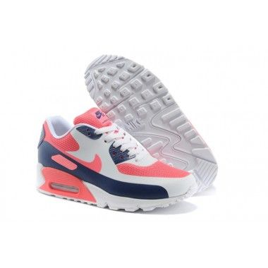 White Nike Air Max 90 Hyperfuse Prm Womens Shoes Pink Blue