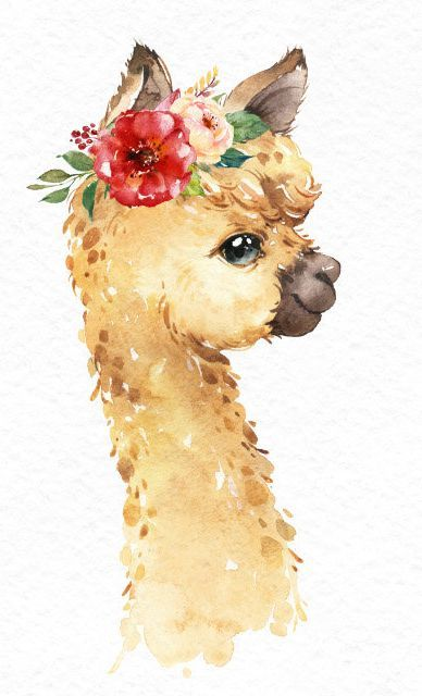 Photo of Little Llamas. Watercolor animals clipart, alpaca, portrait, flowers, kid, country, cute, bab…