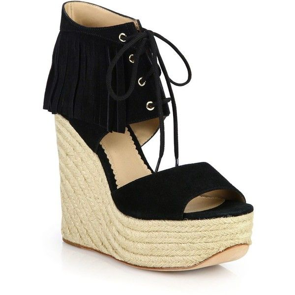 Ash Belinda Fringed Suede Espadrille Wedge Sandals (615 BRL) ❤ liked on Polyvore featuring shoes, sandals, apparel & accessories, black, wedge sandals, espadrille wedge sandals, fringe wedge sandals, boho sandals and peep toe sandals