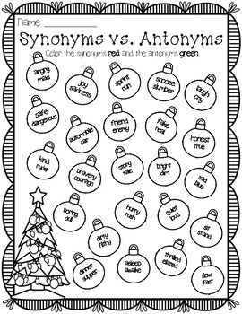 Synonyms vs. antonyms winter christmas holiday themed