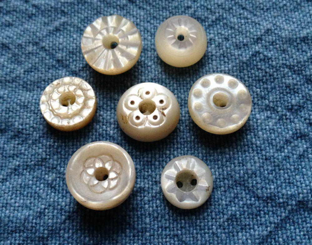 Vintage Blue MOP Shank Buttons