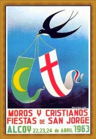 Cartel de fiestas de Alcoy 1963 Autor Antonio Pérez Jordá