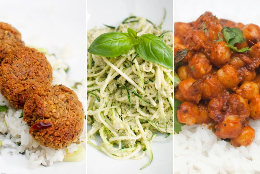 UKEMENY: Hva med glutenfri falafel, rå pasta med pesto og spicy kikerter til middag i uken som kommer?