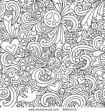 Image Detail For Seamless Pattern Psychedelic Groovy Peace Notebook Doodle Design Hand Coloring Pages Pattern Coloring Pages Doodle Coloring
