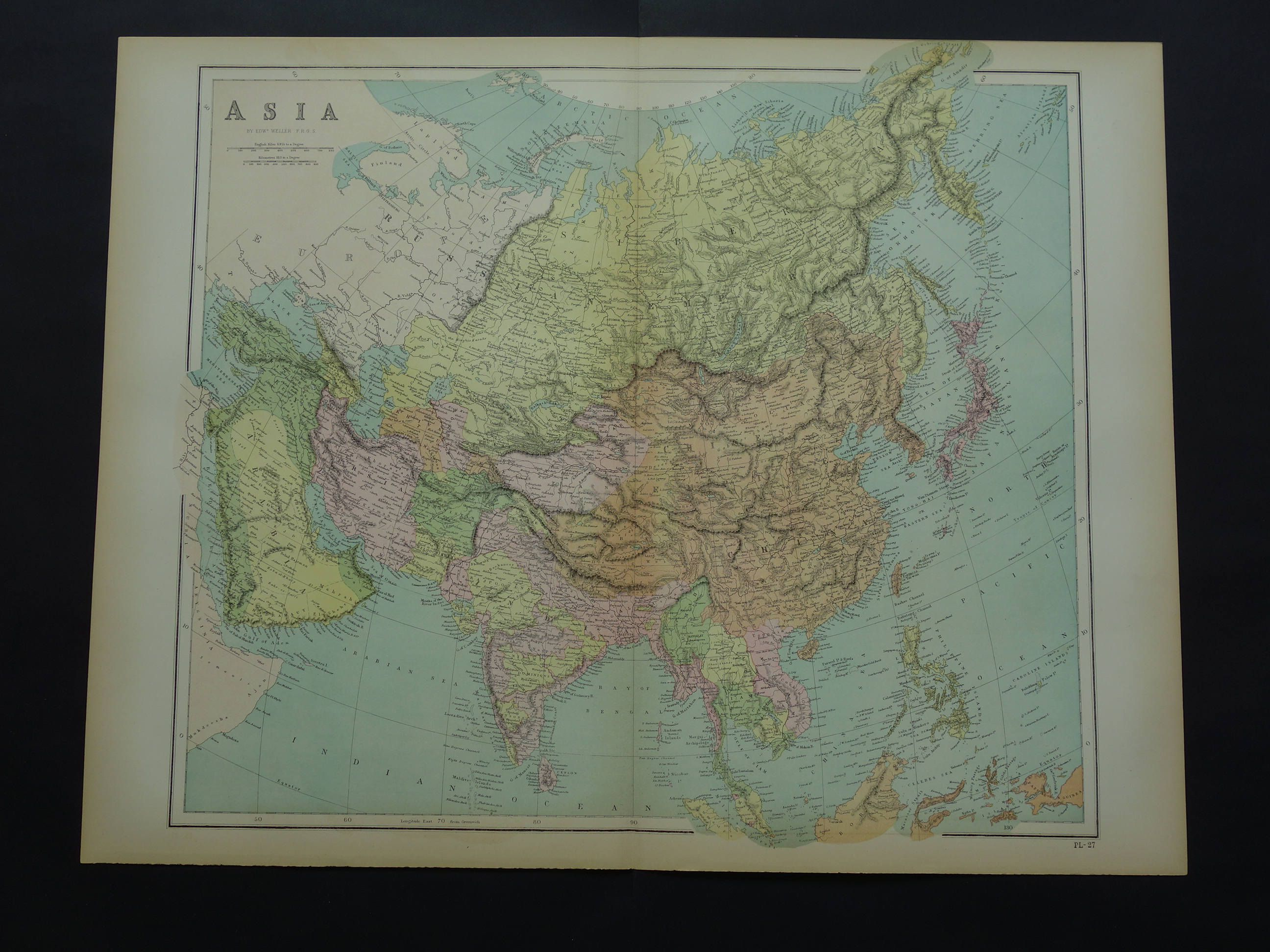 Map Of Europe Russia Middle East%0A ASIA old map of Asia in      LARGE original antique English poster about  continent India Japan Russia China vintage maps big by VintageOldMaps on  Etsy