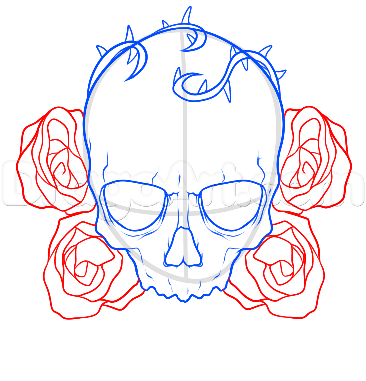 how to draw a skull and roses tattoo step 5 Skulls