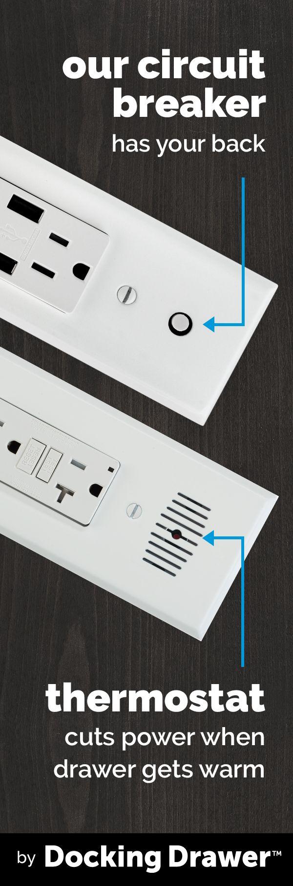 Docking Drawer Smart Simple Safe In Drawer Outlets Woodworking Materials Power Built In Desk