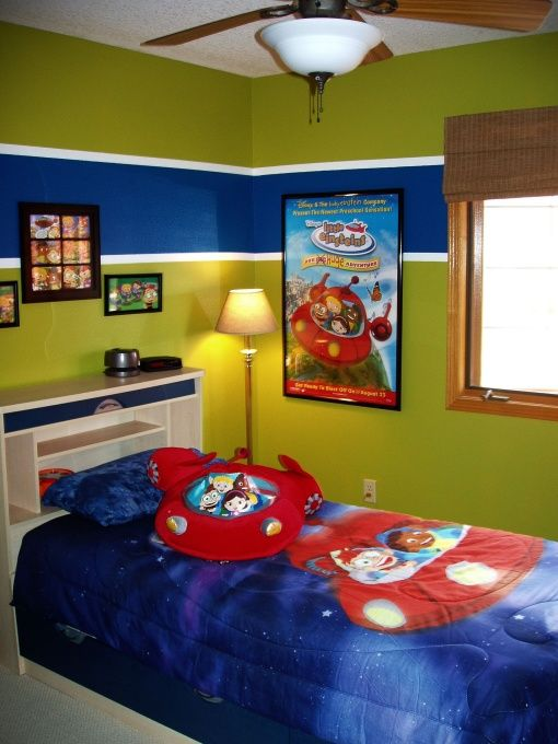 Toddler little einstein bedroom i just finished turning for Painting stripes on walls in kids room