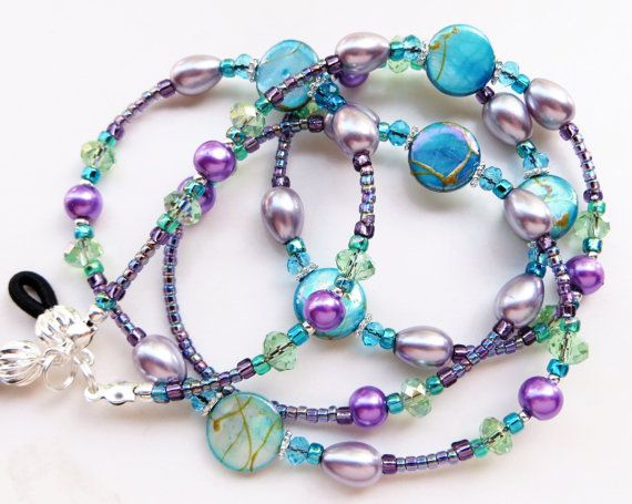 SOOTHING SUMMER Beaded Eyeglass Lanyard/ by CJsInspirations