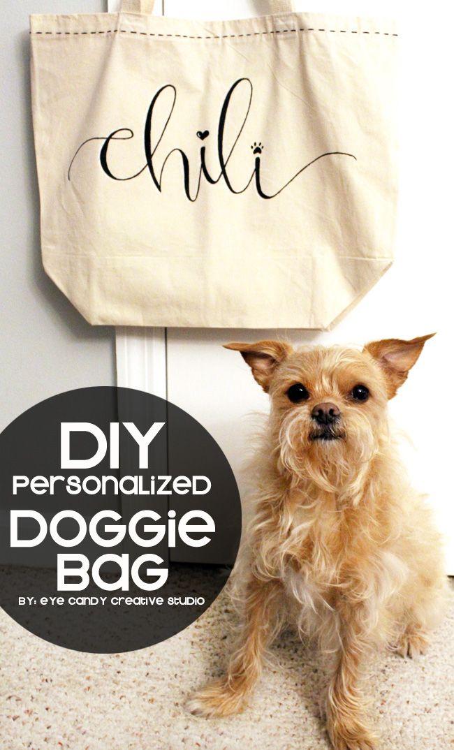 how to make a Personalized Doggie Bag - #DIY @eyecandycreate #doggiebag #handlettered #target #dogtotebag  #ad #FeedDogsPurina