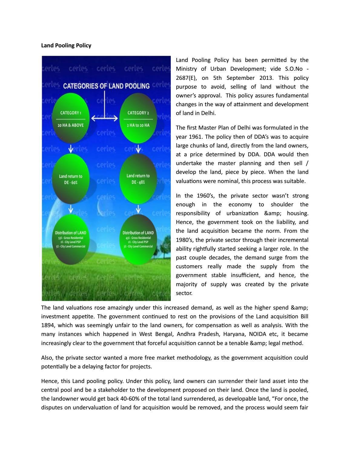 Dda Land Pooling Policy Landing