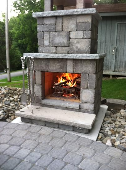 Necessories Bluestone Compact Outdoor Fireplace 4200038 At The Home Depot Mobile