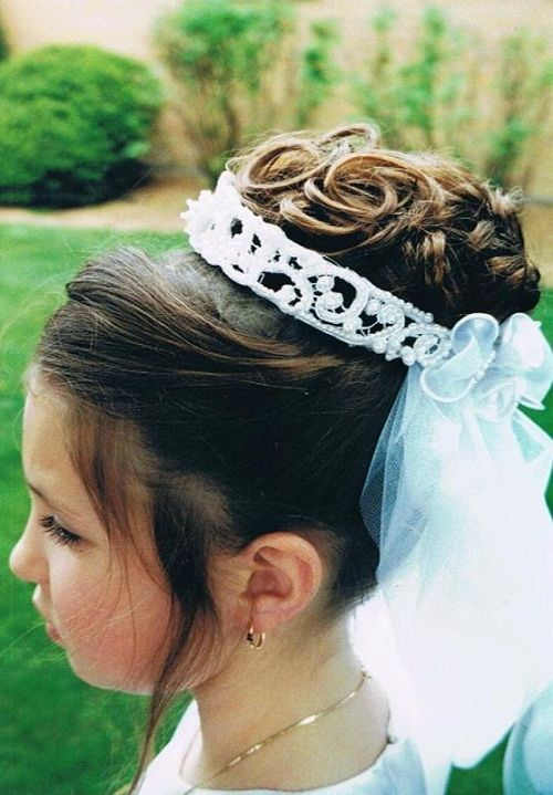 Flower Girls Updo Hairstyles With Tiara Flower Girls Updo