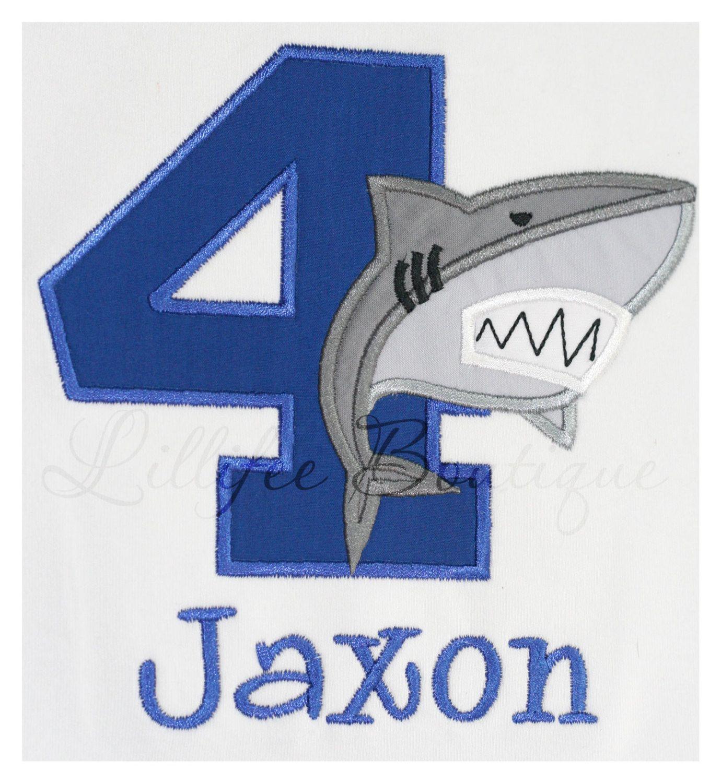 Birthday Shark Applique T Shirt With Monogram 20 Via