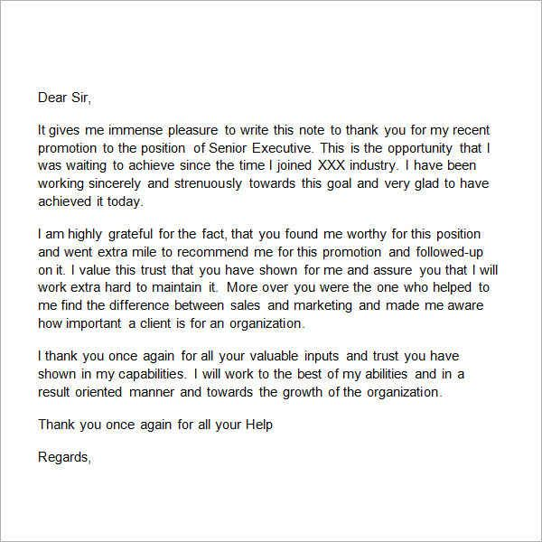 Sample Thank You Letter Boss Free Documents Download Word For