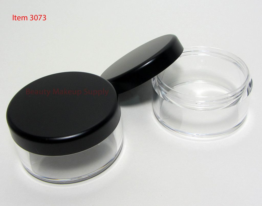 Cosmetic Sifter Jars Plastic Beauty Containers With Lids 30 Gram Matte Black Silver Lid Cosmetic Jars Cosmetic Containers Makeup Containers