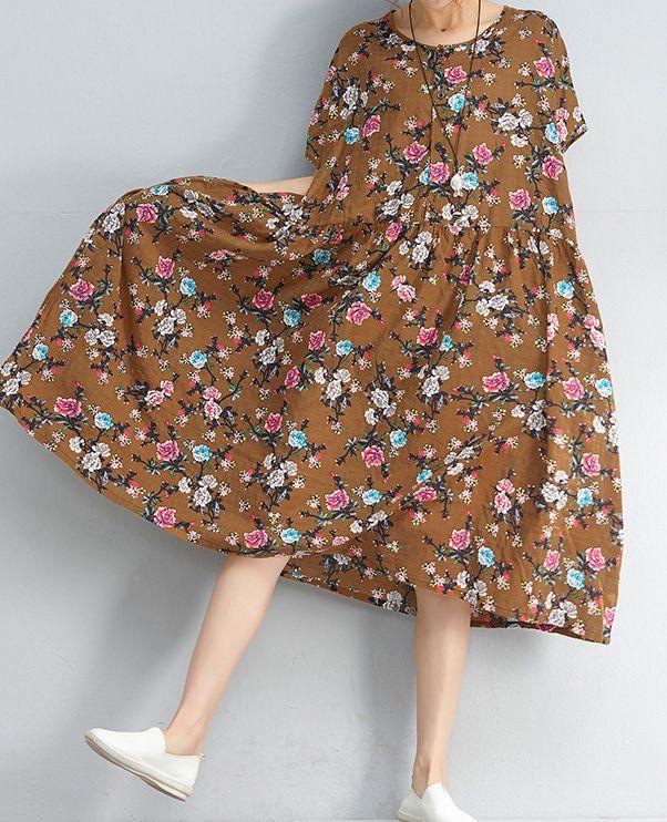 43e894f4866b stylish yellow floral linen dresses plus size clothing shirt dress