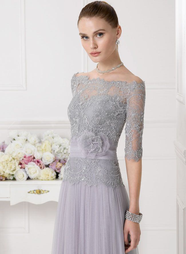 Silver Half Sleeved Lace Top A-line Tulle Bridesmaid Dress | dresses ...
