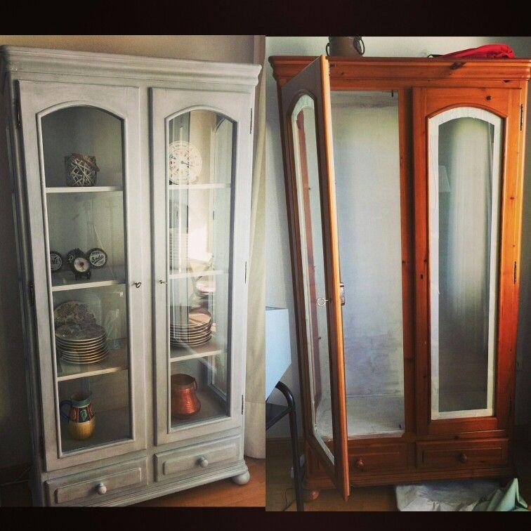 Cambio espectacular de esta vitrina pintada de color gris - Muebles el rastro ...