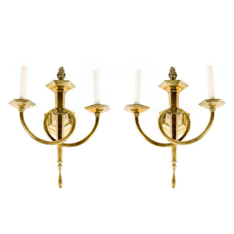 Neoclassical Style Brass Sconces