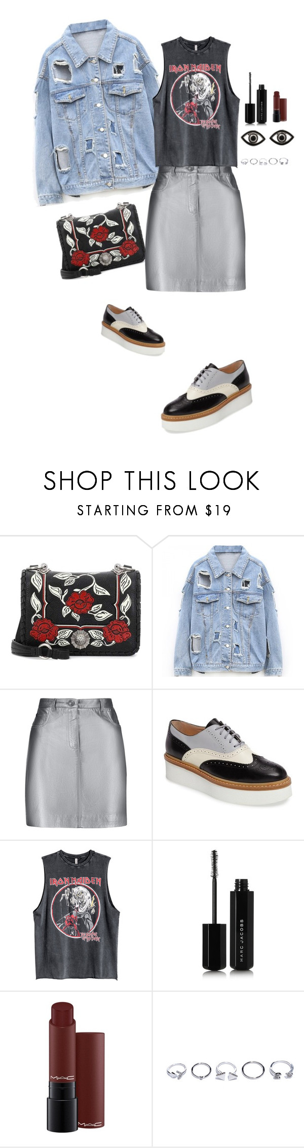 """dont look to the eyes of a stranger!"" by girlyskullsam ❤ liked on Polyvore featuring Miu Miu, Pierre Balmain, Tod's, Marc Jacobs, MAC Cosmetics, GUESS and Netali Nissim"