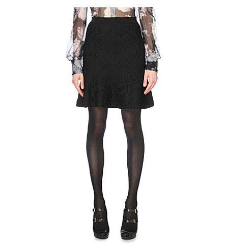 ALEXANDER MCQUEEN Baroque-Embossed Stretch-Knit Skirt. #alexandermcqueen #cloth #dresses